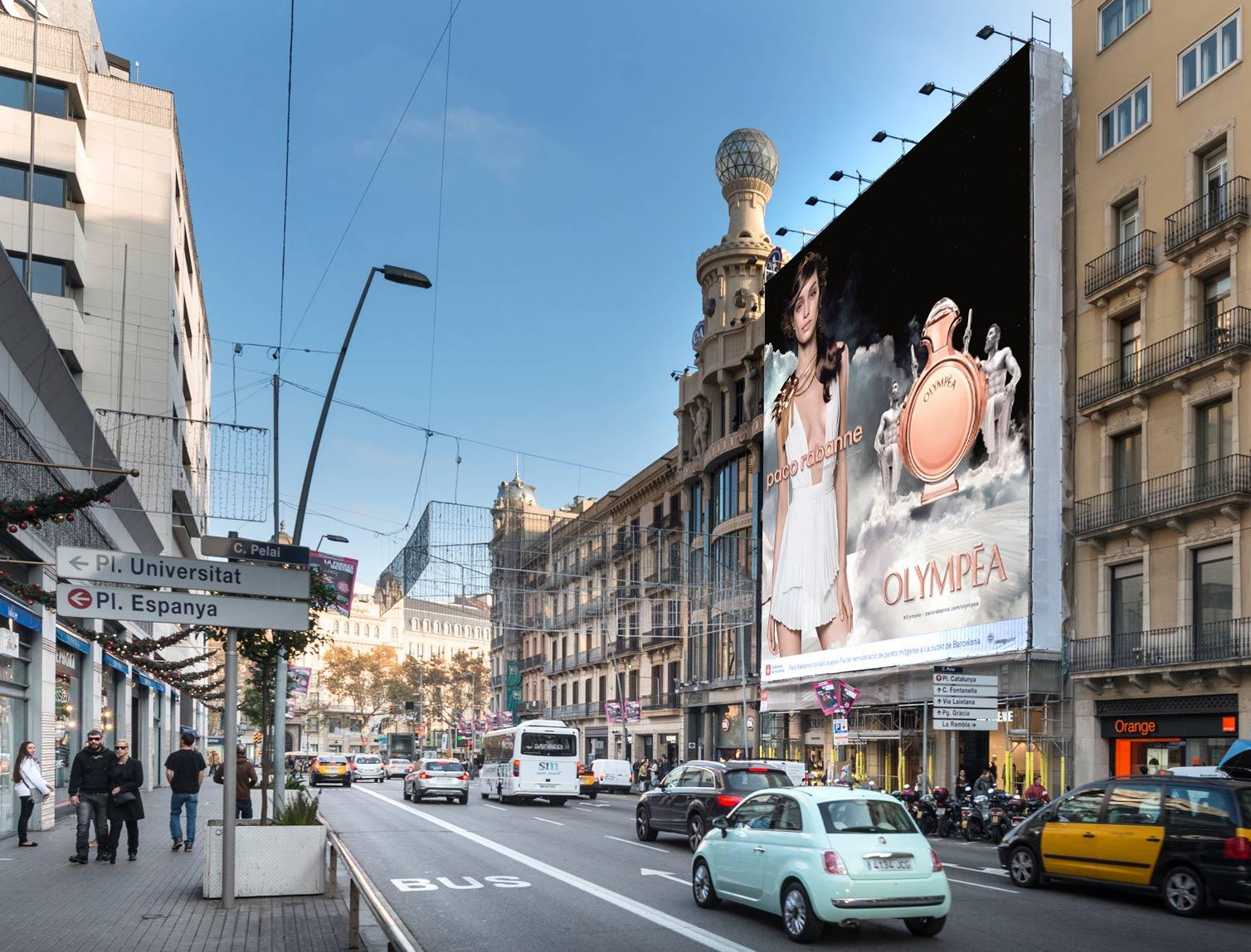 Lona publicitaria olympea en la calle pelayo de barcelona for Oficinas de pelayo en barcelona