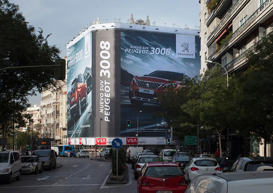 lona-publicitaria-madrid-odonnell-9-peugeot-suv-3008-vsa-comunicacion