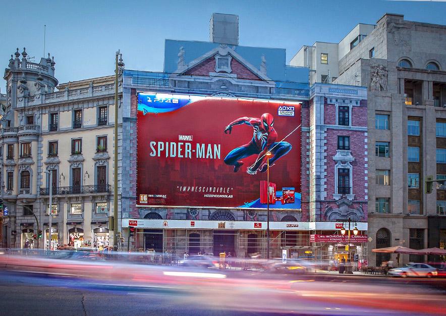 lona-publicitaria-madrid-alcala-43-spiderman-noche-vsa-comunicacion